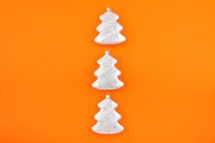 Three Christmas decoration silver firs Stock Images