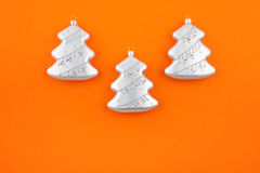 Three Christmas decoration silver firs Royalty Free Stock Photo