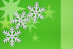 Three Christmas decoration silver snowflakes Royalty Free Stock Image