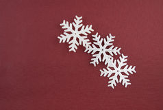 Three Christmas decoration silver snowflakes Stock Images