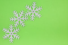 Three Christmas decoration silver snowflakes Stock Image