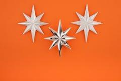 Three christmas decoration silver stars Royalty Free Stock Photos