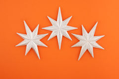 Three christmas decoration silver stars Stock Photos