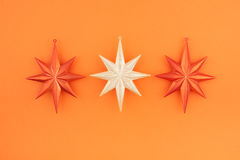 Three christmas decoration stars Stock Image