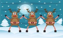 Three Christmas deer stock illustration