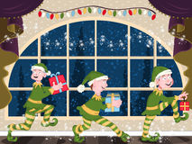 Three Christmas elves. Three magic elves is sneaking through the house with their gifts, at the night of Christmas stock illustration