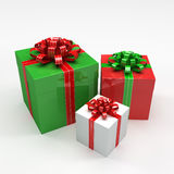 Three Christmas Gift Boxes Royalty Free Stock Images
