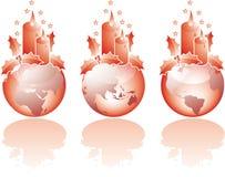 Three christmas glass world views Royalty Free Stock Photo