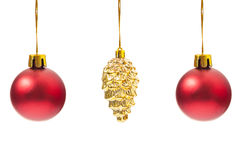 Three Christmas globes hanging Royalty Free Stock Image
