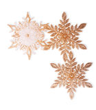 Three Christmas Golden Snowflakes royalty free stock images