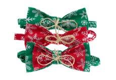 Three Christmas green bow tie Royalty Free Stock Photo