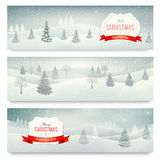 Three christmas holiday landscape banners. Stock Photography