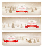 Three christmas holiday landscape banners. Stock Photo
