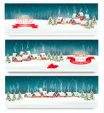 Three christmas holiday landscape banners. Vector. stock illustration
