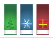 Three christmas name tags. With snowflake, present and tree Royalty Free Stock Image