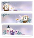 Three Christmas, New Year banners with gift boxes. Lanterns and champagne. Vector vector illustration