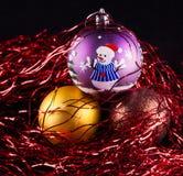 Three Christmas ornaments Stock Image