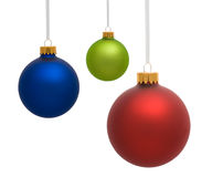 Three Christmas Ornaments on White Royalty Free Stock Photography