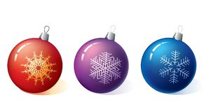 Three Christmas balls Royalty Free Stock Images