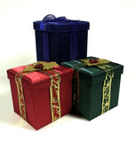 Three Christmas Presents. Three Christmas boxes isolated on white Stock Photography