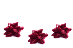 Three Christmas Red Bows Royalty Free Stock Photos