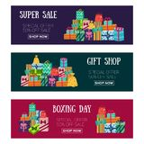 Three Christmas sale banners with presents, gifts. Set of three holiday, Christmas sale banners with pile, heap of presents and gifts, text and buttons, flat Stock Photo
