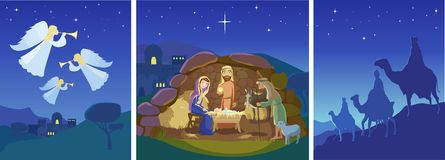 Three christmas scenes. Vector Royalty Free Stock Photography