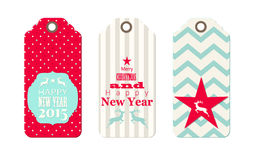 Three christmas scrapbooking tags Royalty Free Stock Photos