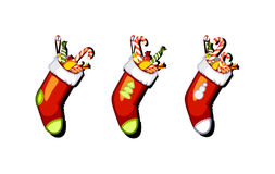 Three Christmas shoe with candy. On white background Royalty Free Stock Photo