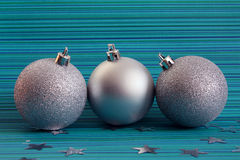 Three christmas silver balls Stock Images