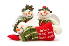 Three Christmas Snowman Decorations Royalty Free Stock Images
