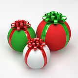 Three Christmas Spherical Gift Boxes Stock Photography