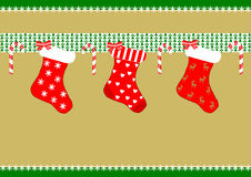 Three christmas stockings Stock Image