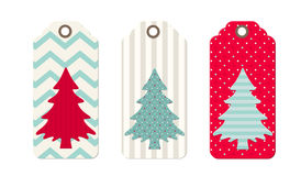 Three christmas  tags in shabby chic style Stock Images