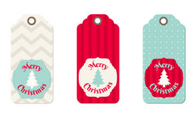 Three christmas  tags in shabby chic style Stock Photo