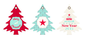 Three christmas tags in shape of tree. Isolated on white background, vector illustration, eps 10 with transparency royalty free illustration