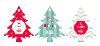 Three christmas tags in shape of tree. With text Merry and Bright, isolated on white background, vector illustration, eps 10 with transparency vector illustration