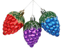 Three Christmas toys pine cones Stock Image
