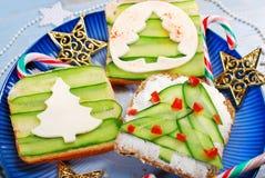 Three christmas tree shape sandwiches Royalty Free Stock Photography