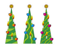 Three christmas-trees. With different design Royalty Free Stock Photography