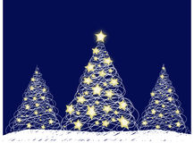 Three Christmas Trees. Three stylized Christmas Trees on a blue background vector illustration