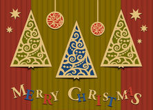 Three Christmas trees applique Royalty Free Stock Images