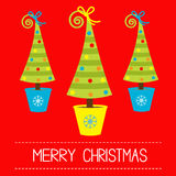Three Christmas trees in pot. Merry Christmas card. Royalty Free Stock Images