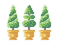 Three Christmas trees in a pot. Merry Christmas greeting card, Happy New Year illustration. Christmas trees like cross-stitch. Chr. Istmas pattern. Scheme for royalty free illustration