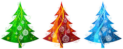 Three Christmas trees. Royalty Free Stock Images