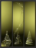 Three Christmas vector banners with Christmas tree Stock Image