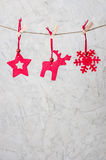 Three christmassy felt figures Royalty Free Stock Photo