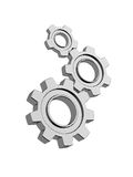 Three chrome gears. 3d render of chrome gears isolated on white background Royalty Free Stock Photography