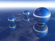 Three Chrome Spheres stock illustration