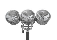 Three chrome spotlights isolated. Royalty Free Stock Images